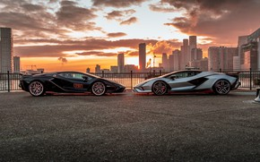 Picture the city, dawn, Lamborghini, Lamba, 2021, Later, Sian, FKP 37, Lamborghini Sián