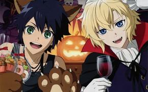 Picture guys, Halloween, Owari no Seraph, The last Seraphim, Yuichiro Hakua, Michaela Hakua