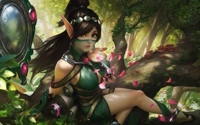 Picture forest, the game, petals, art, elf, scrolls, Flirty, Paladins Strike Ying