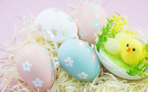 Picture eggs, Easter, hay, Holiday