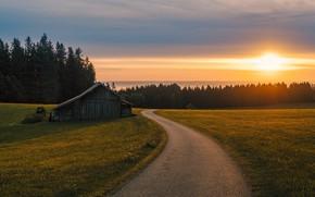 Picture light, road, sunrise, bavaria