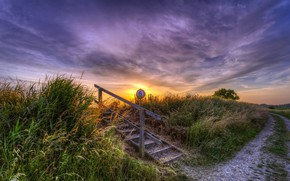 Picture road, sunset, ladder