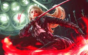 Picture look, girl, pose, weapons, candles, fantasy, art, blonde