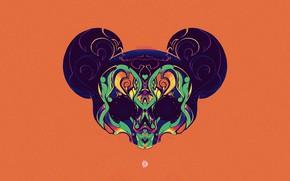 Picture Minimalism, Background, Art, Sake, Mickey Mouse, Mickey, Characters, Mickey Mouse Skull, Jonatan Anjos, by Jonatan …