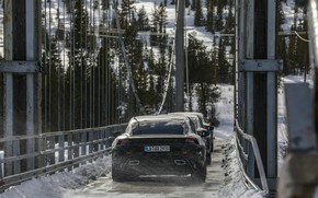 Picture snow, bridge, Porsche, prototype, 2019, Taycan