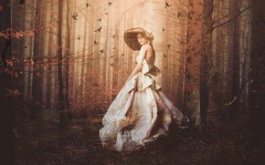 Picture autumn, forest, girl, hat, dress, fantasy, Ghost, lady