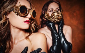 Picture style, girls, makeup, lipstick, glasses, face, steampunk, mask