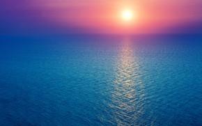 Picture sea, the sky, the sun, dawn, horizon