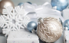 Picture winter, balls, holiday, box, gift, balls, blue, Christmas, gifts, New year, light background, snowflake, box, …