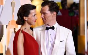 Picture Benedict Cumberbatch, Benedict Cumberbatch, Oscar, wife, Sophie Hunter, the award ceremony