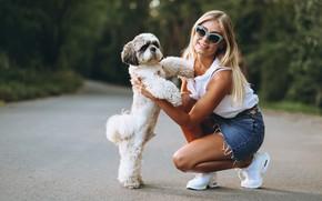 Picture girl, smile, dog, glasses, bokeh