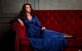 Picture red, sofa, model, portrait, makeup, dress, hairstyle, shoes, brown hair, sitting, posing, blue, he closed ...