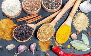 Picture spices, spoon, cereals
