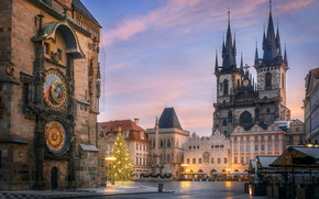 Picture the city, holiday, building, new year, home, Christmas, Prague, Czech Republic, temple, tree, Old town …