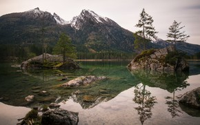 Picture trees, mountains, lake, Germany, Islands, Ramsau, Hintersee, Upper Bavaria