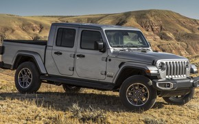 Picture car, machine, mountains, grey, side, pickup, grey, Jeep, Jeep Gladiator Overland, Jeep Gladiator