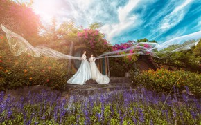 Picture summer, the sky, clouds, flowers, nature, blue, background, girls, blue, two, garden, outfit, fabric, stage, …