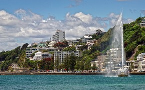 Picture sea, New Zealand, mountains, home, hotels, fountain, road