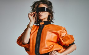 Picture girl, decoration, pose, style, glasses, jacket, Olivia Culpo