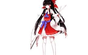 Picture brunette, girl, bows, Touhou, Reimu Hakurei, Touhou, Touhou, Sheya