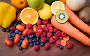 Picture berries, raspberry, Board, Apple, food, oranges, kiwi, harvest, blueberries, fruit, vegetables, tomatoes, carrots, a lot, …