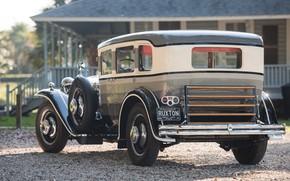 Picture car, house, trees, black car, classic car, rear view, Oldtimer, Ruxton Model C