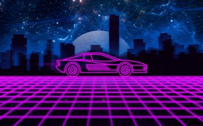 Picture Music, The city, Machine, Silhouette, Background, 80s, Neon, Testarossa, 80's, Synth, Retrowave, Synthwave, Ferrari Testarossa …