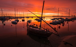 Picture water, the sun, clouds, light, sunset, river, boats, the evening, horizon, Bay, boats, pond, a ...