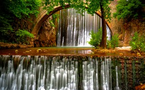 Picture trees, bridge, river, Greece, waterfalls, Greece, Thessaly, Thessaly, Portaikos River, Palaiokaria Waterfalls