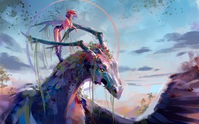 Picture girl, dragon, painting