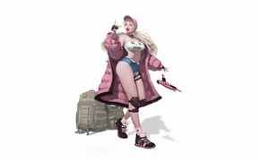 Picture Pink, Girl, Gun, Beautiful, Sexy, Art, Style, hip-hop, Blonde, Background, Illustration, Weapon, Minimalism, Figure, Character, …