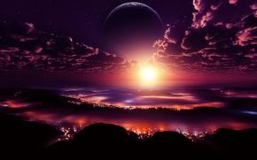 Picture city, lights, space, sky, digital, landscape, sunset, clouds, stars, planet