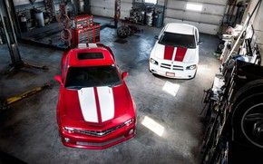 Picture Muscle, Cars, Dodge Charger, Chevrolet Camaro, Tuning, Garage
