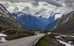 Picture road, clouds, mountains, tops