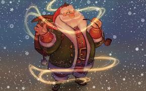 Picture Winter, Figure, Snow, Christmas, Snowflakes, Background, New year, Santa, Beard, Holiday, Santa Claus, Art, Christmas, …