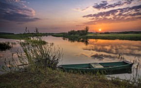 Picture landscape, nature, river, dawn, boat, morning, Bank, Robert Kropacz