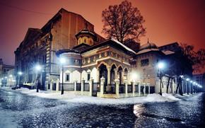 Picture winter, snow, trees, night, lights, street, the fence, home, lights, Church, bridge, Romania, Bucharest, Bucharest
