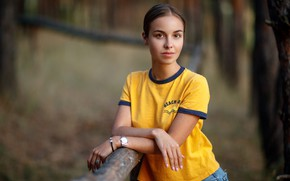 Picture look, nature, pose, background, model, portrait, jeans, makeup, Mike, hairstyle, brown hair, bokeh, pole, Sergey …