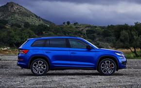 Picture side view, 2018, crossover, SUV, Skoda, Skoda, 2019, Kodiaq RS