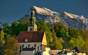 Picture landscape, mountains, nature, Austria, Church, Salzburg, Under the mountain