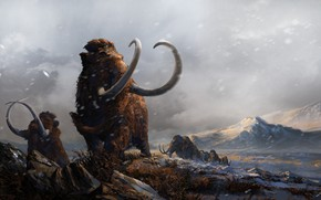Picture Art, Ice age, Illustration, Wildlife, Mammoth, Mammoths, Ice age, Mammoth, Tusks, Wildlife, Balázs Petheő, by …