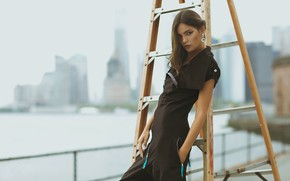 Picture look, girl, pose, style, jumpsuit, Alena, ladder, Sergei Goncharov