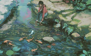 Picture jeans, headphones, girl, stage, pond, on the shore, in the Park, koi, stones in water