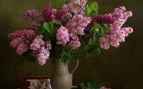 Picture bouquet, pitcher, still life, lilac