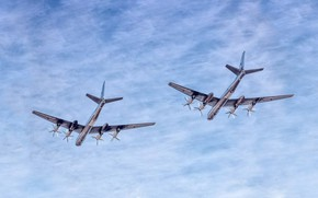 Picture The sky, Clouds, The plane, Flight, Bear, USSR, Russia, Aviation, BBC, Bomber, Tupolev, The plane, …