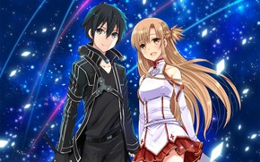 Picture look, anime, art, Sequins, guy, Shine, Sword art online, Sword Art Online, Asuna, Kirito
