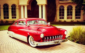 Picture House, Red, Car, Classic, Old, Vintage, Mercury