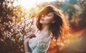 Picture girl, face, photo, hair, spring, flowering, Marketa Novak, Elena Varnakova, Helena Garnekovа