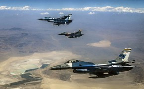 Picture F-16, Fighting Falcon, General Dynamics, multi-role fighter of the fourth generation, American multifunctional lightweight, 64th ...