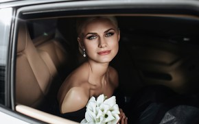 Picture auto, look, girl, flowers, photo, makeup, Alexander Aksenteva